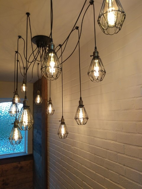 Trendy wine bar lighting design